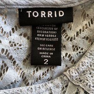 torrid Tops - Torrid Gauze Lace Yoke Swing Tank Top Size 2 (2X)